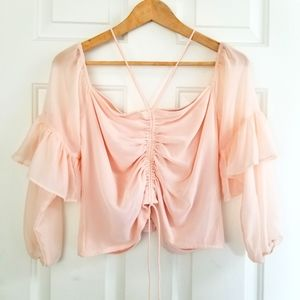 🎉HOST PICK🎉 Guess Blush Ruched Halter Blouse